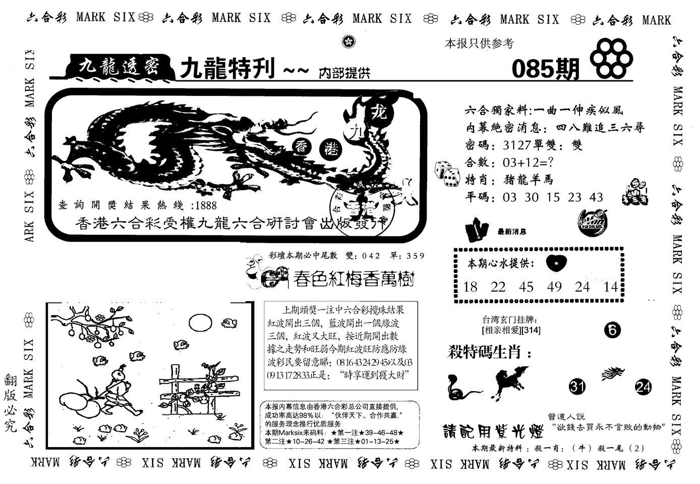 085期九龙特新刊(黑白)
