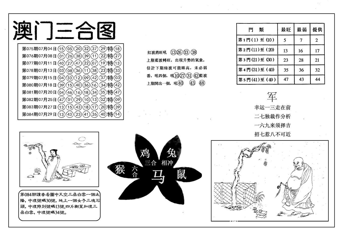 085期另澳门三合图(黑白)