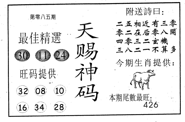 085期天赐神码(黑白)