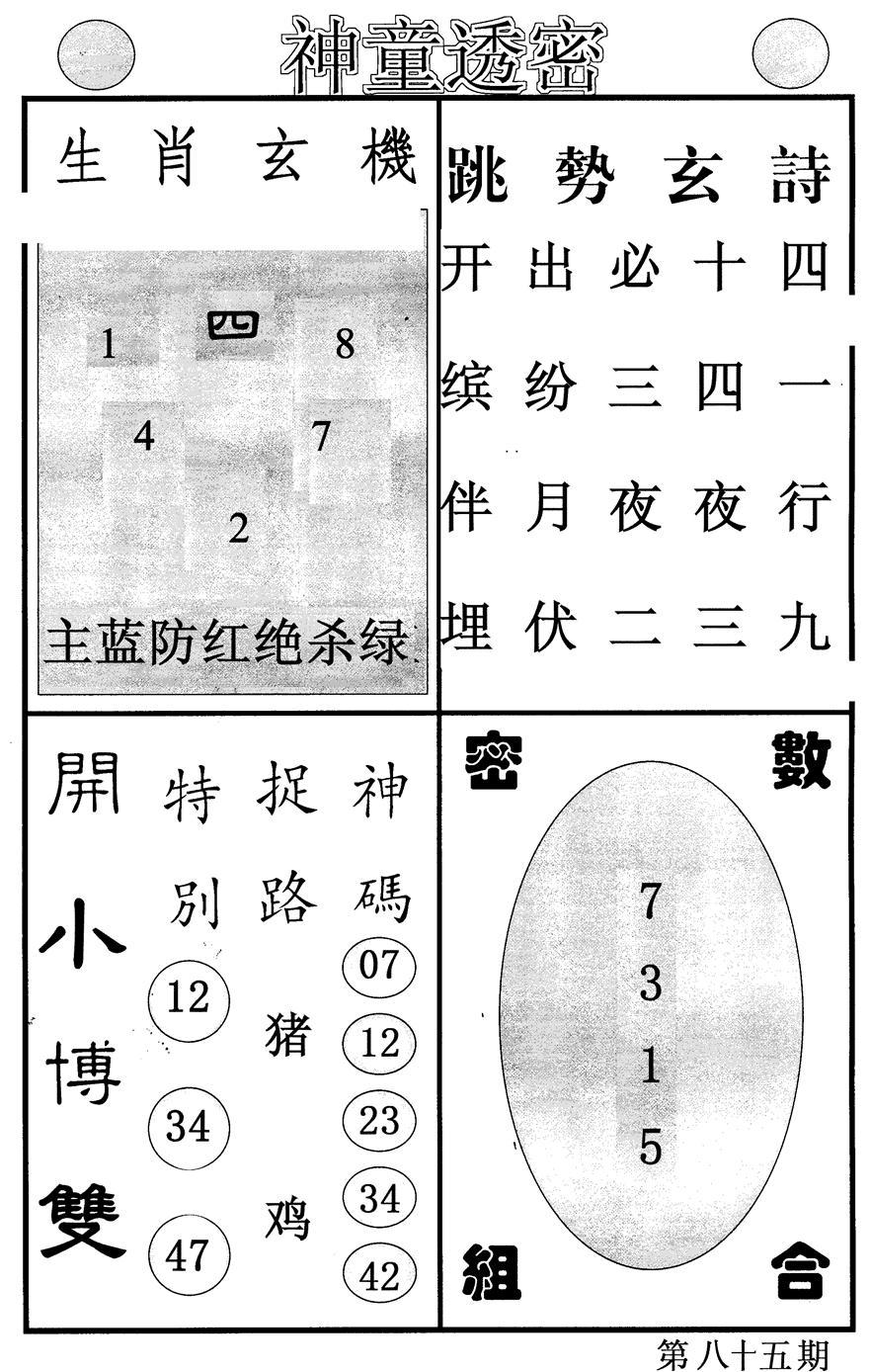 085期神童透密(黑白)
