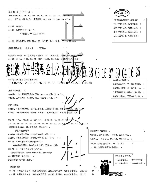 085期正版资料(黑白)