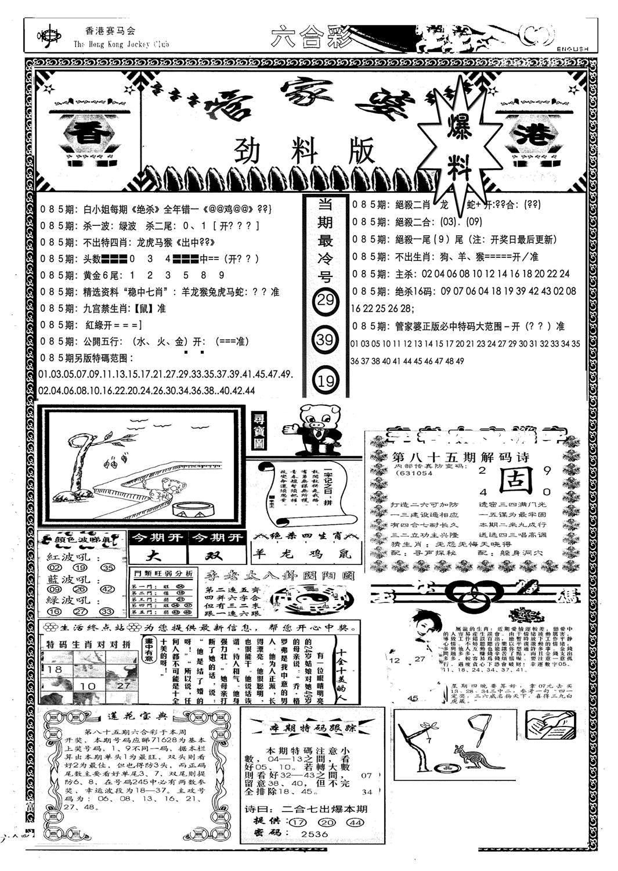 085期管家婆劲料版(新)(黑白)