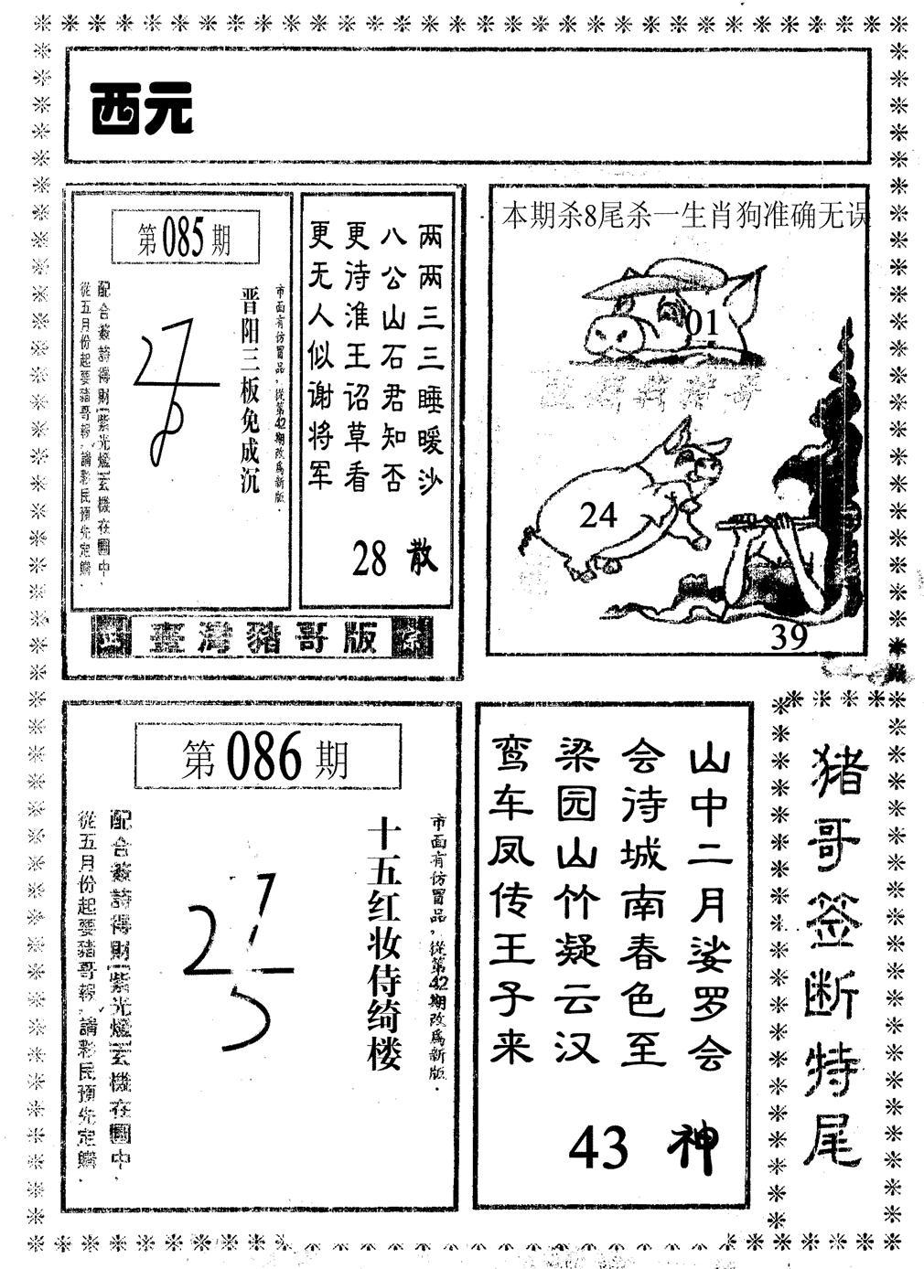 086期猪哥段特尾(黑白)