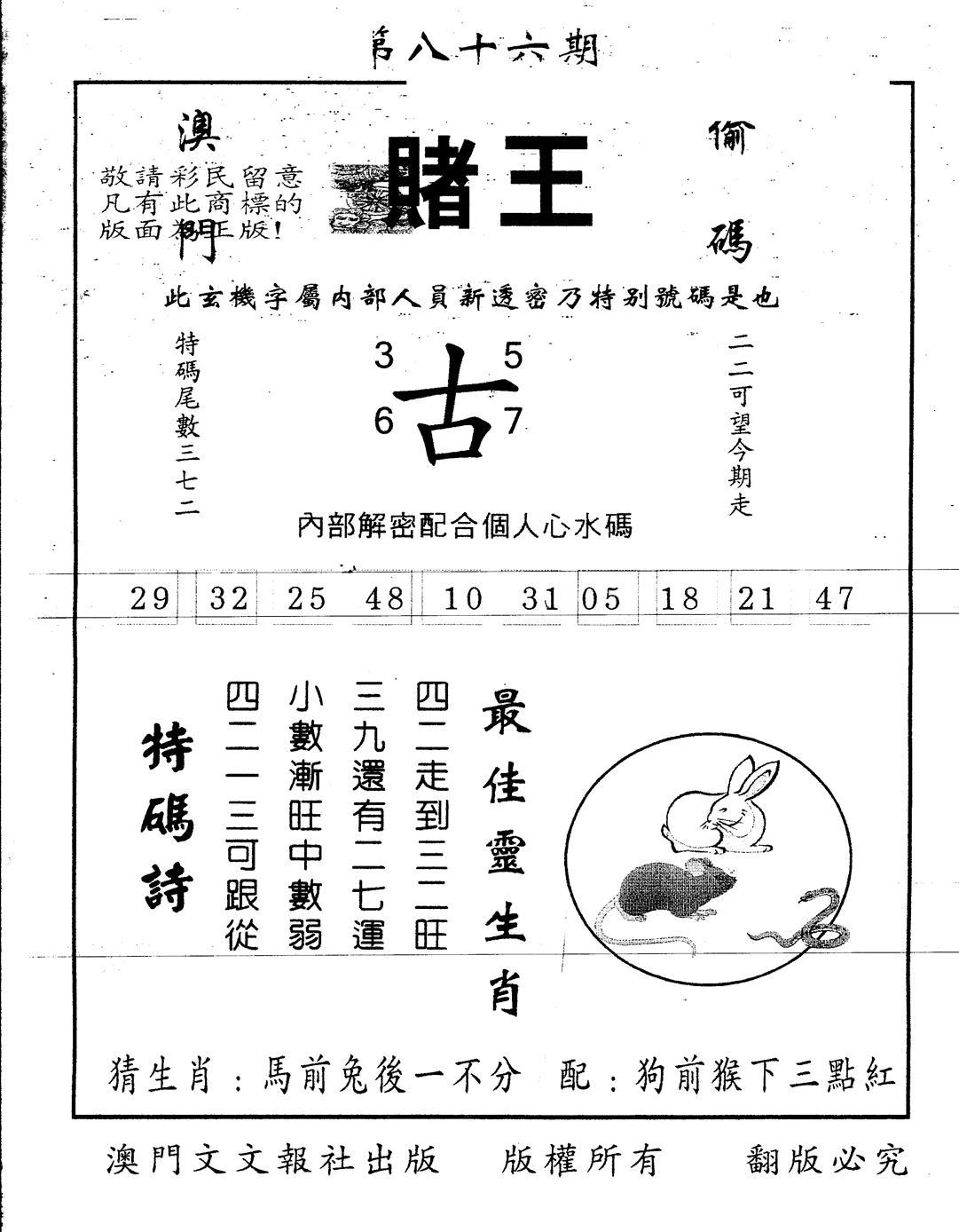 086期另版赌王(黑白)