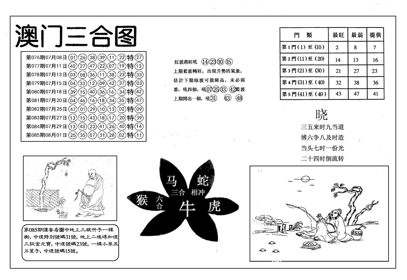086期另澳门三合图(黑白)