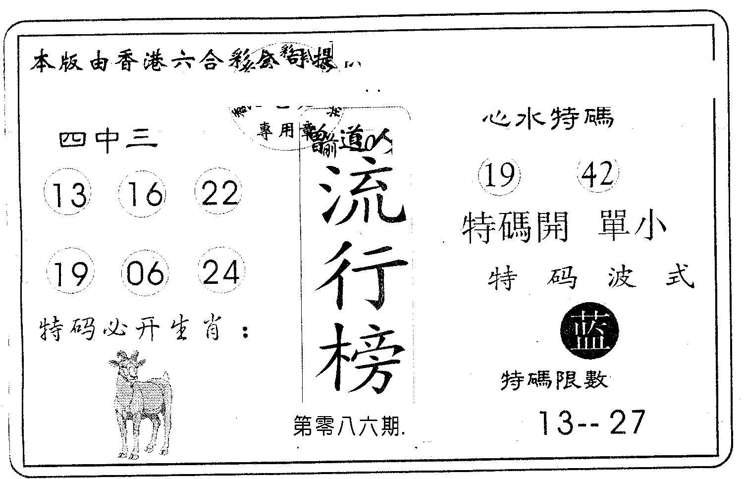 086期流行榜(黑白)