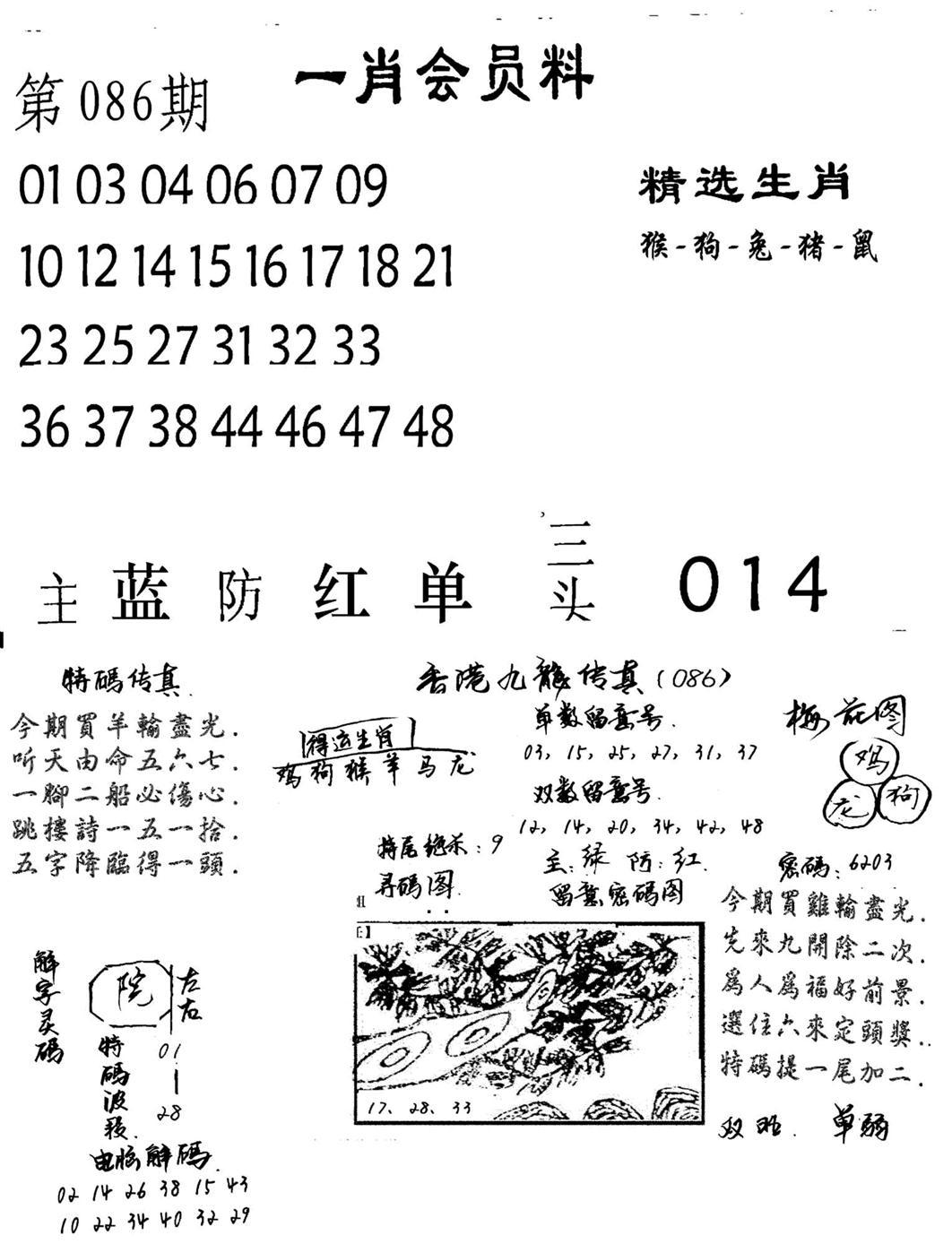 086期一肖会员料(黑白)