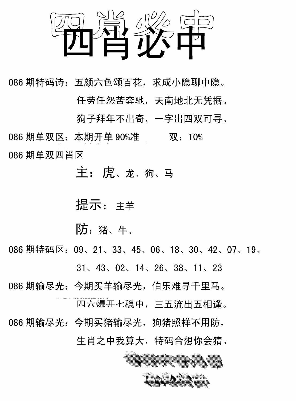 086期四肖中特(黑白)