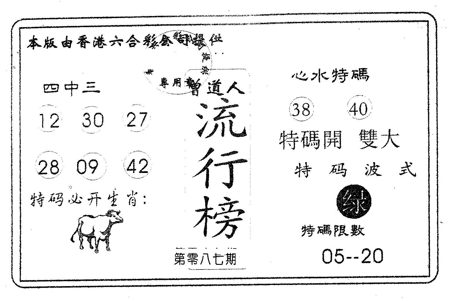 087期流行榜(黑白)