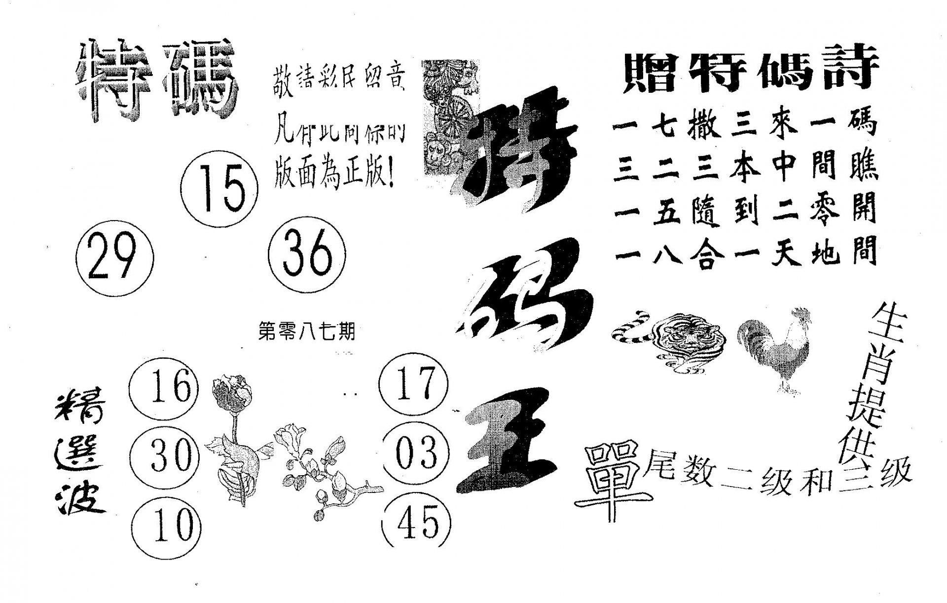 087期特码王A(黑白)