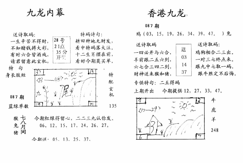 087期九龙内幕--开奖报(黑白)