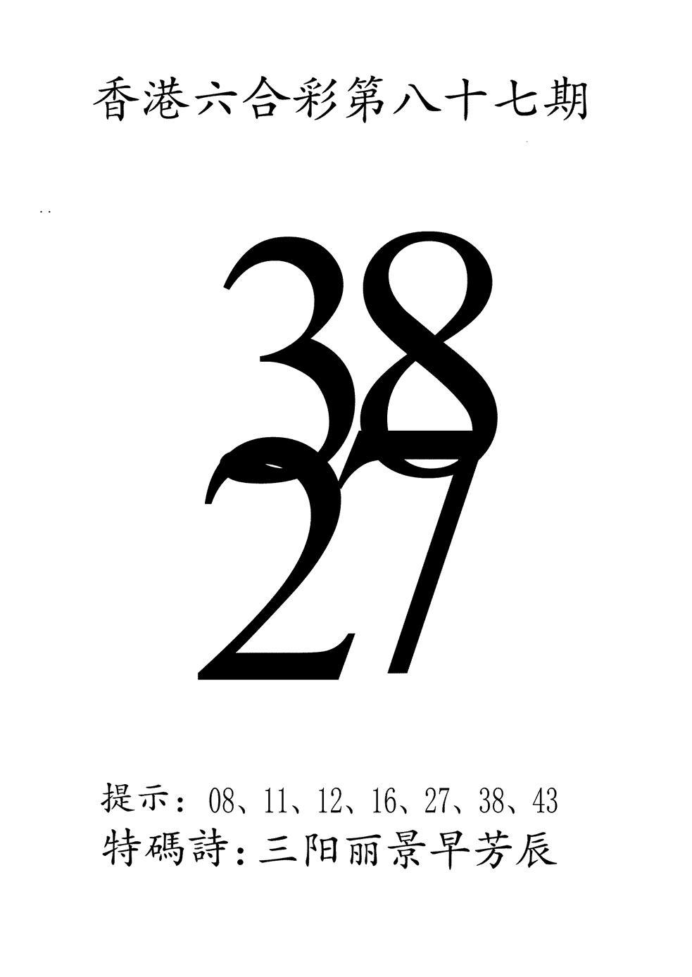 087期澳门三合王B(黑白)