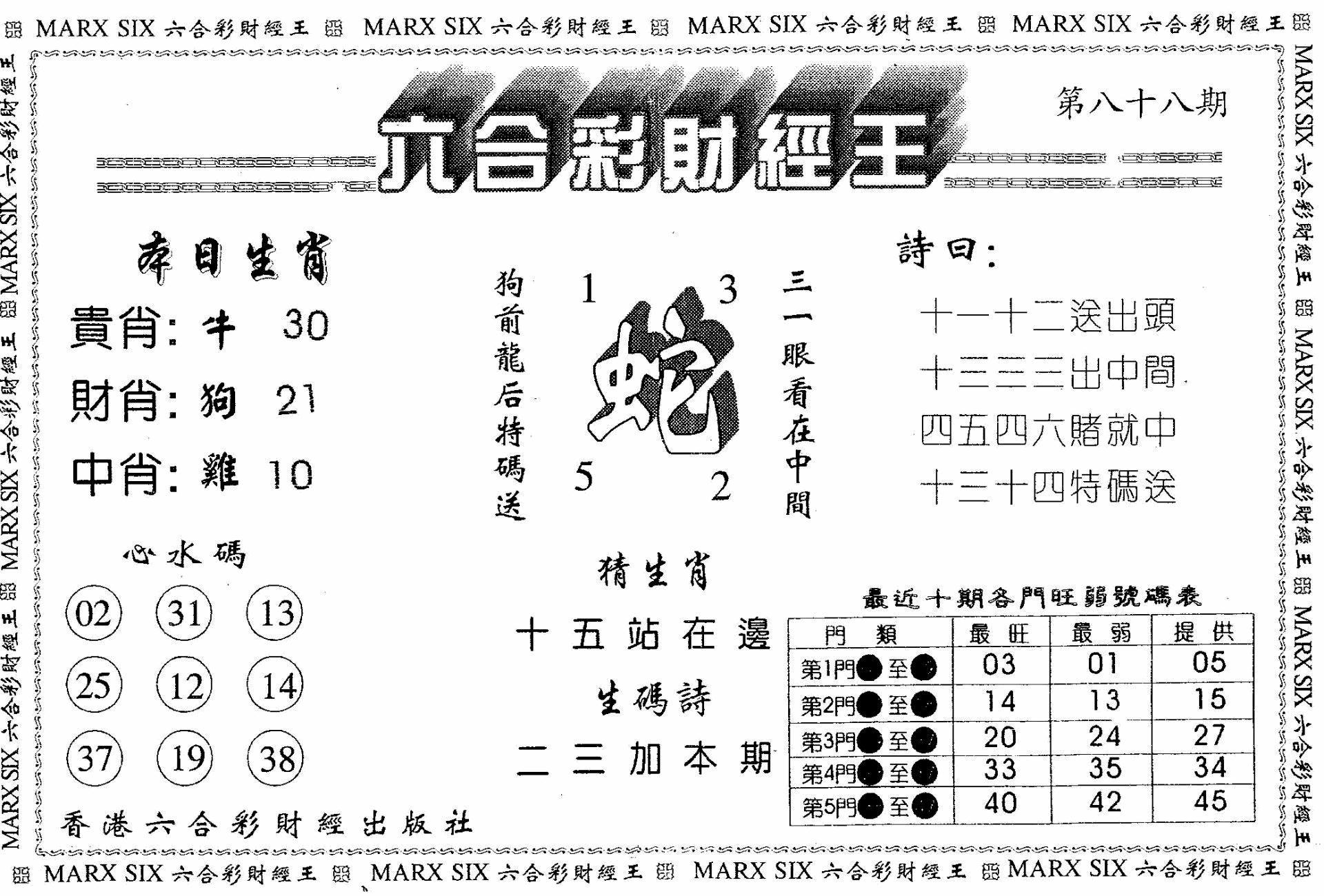 088期另版六合财经王(黑白)