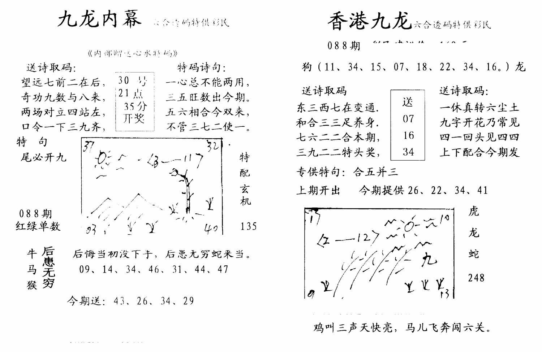 088期九龙内幕--开奖报(黑白)
