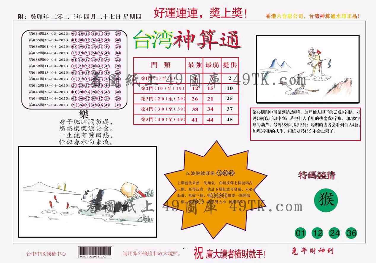 046期台湾神算