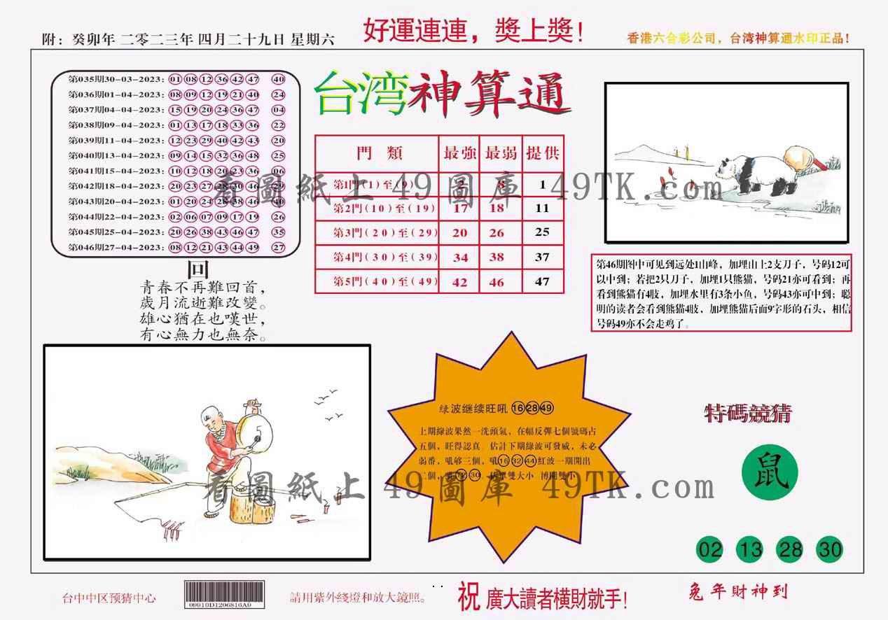 047期台湾神算
