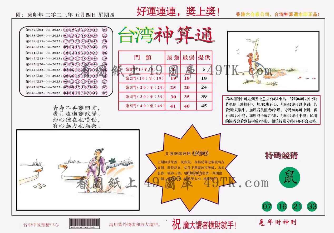 049期台湾神算