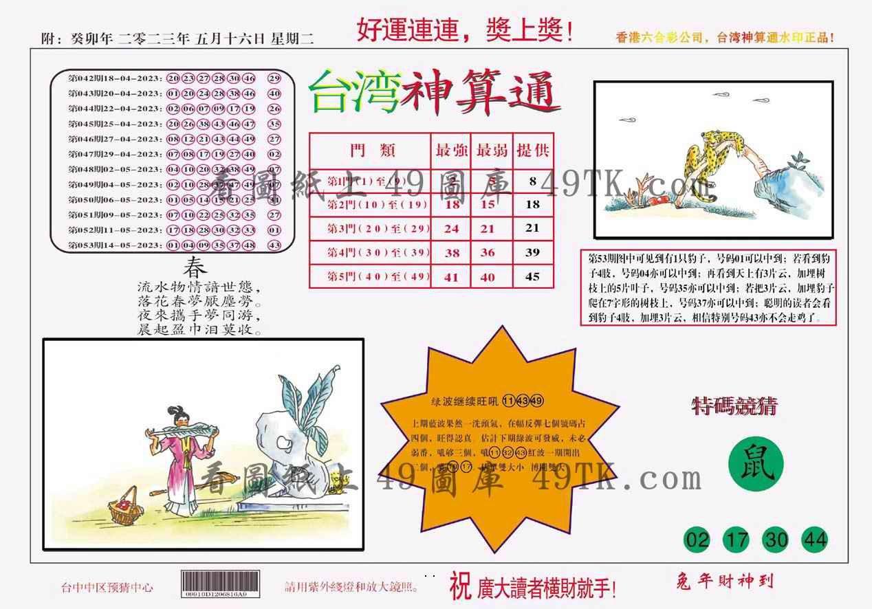 054期台湾神算