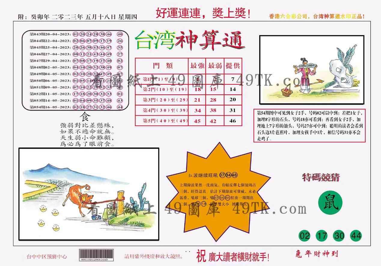 055期台湾神算
