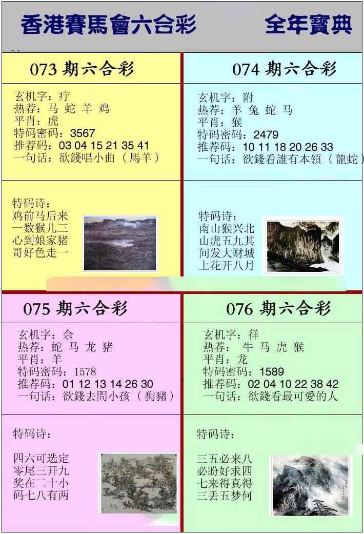 073期香港挂牌宝典