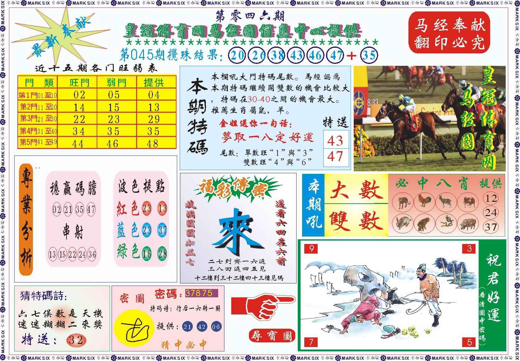 046期皇冠体育网马经图记录