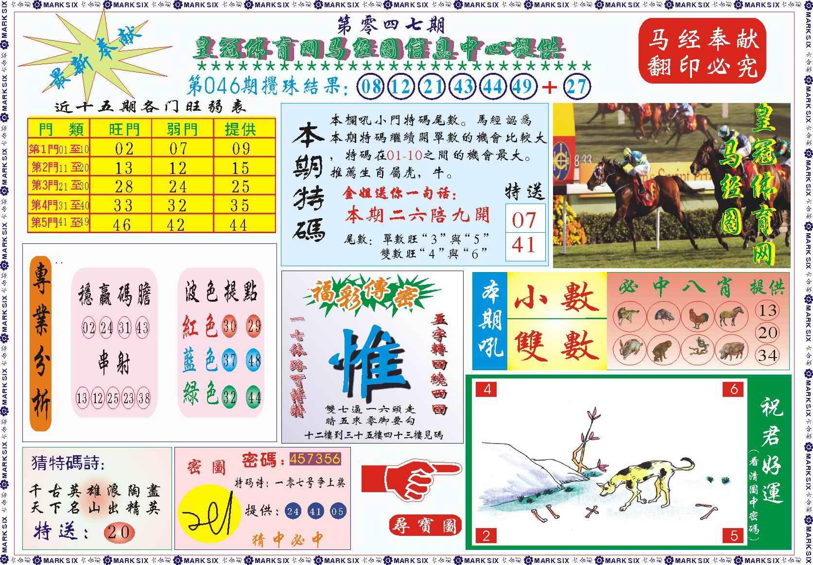 047期皇冠体育网马经图记录