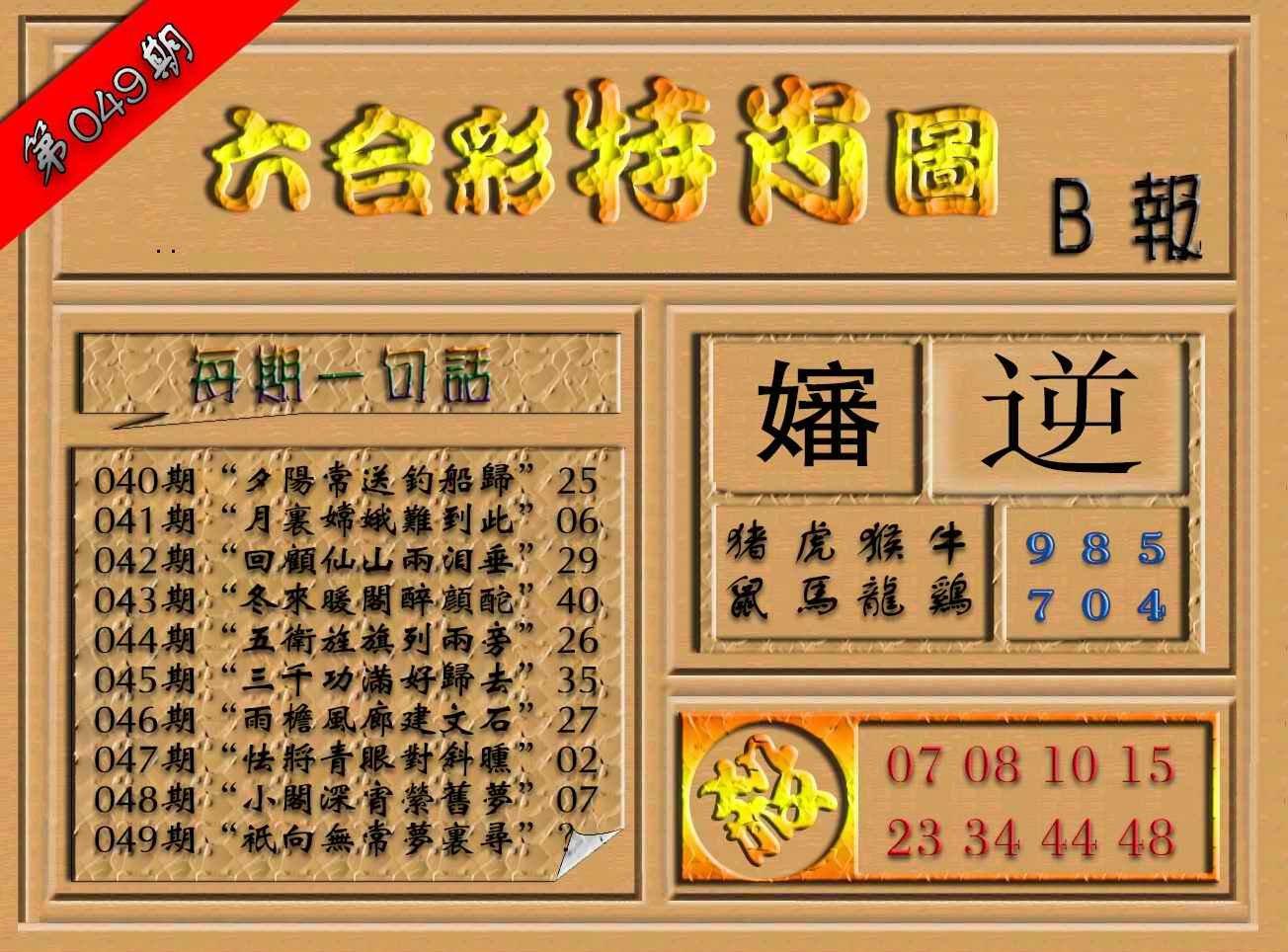 049期六合彩特肖图(B报)