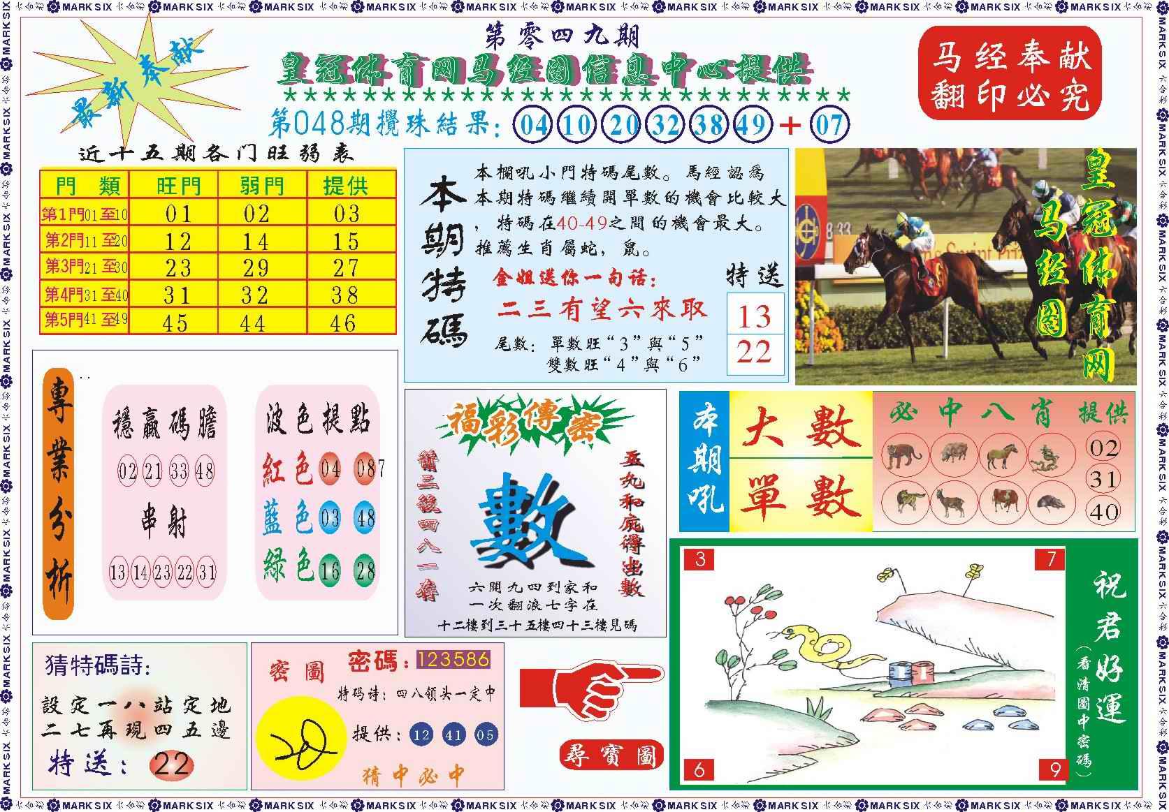 049期皇冠体育网马经图记录