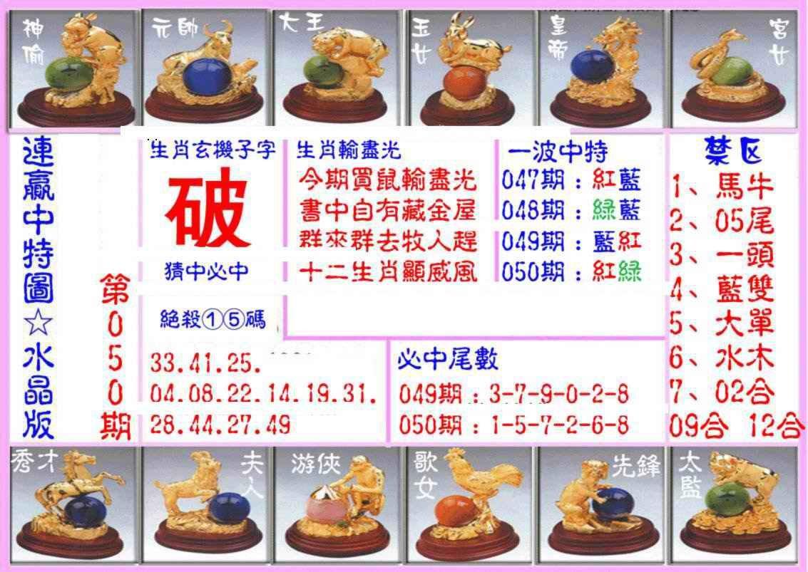 050期连赢中特图(水晶版)