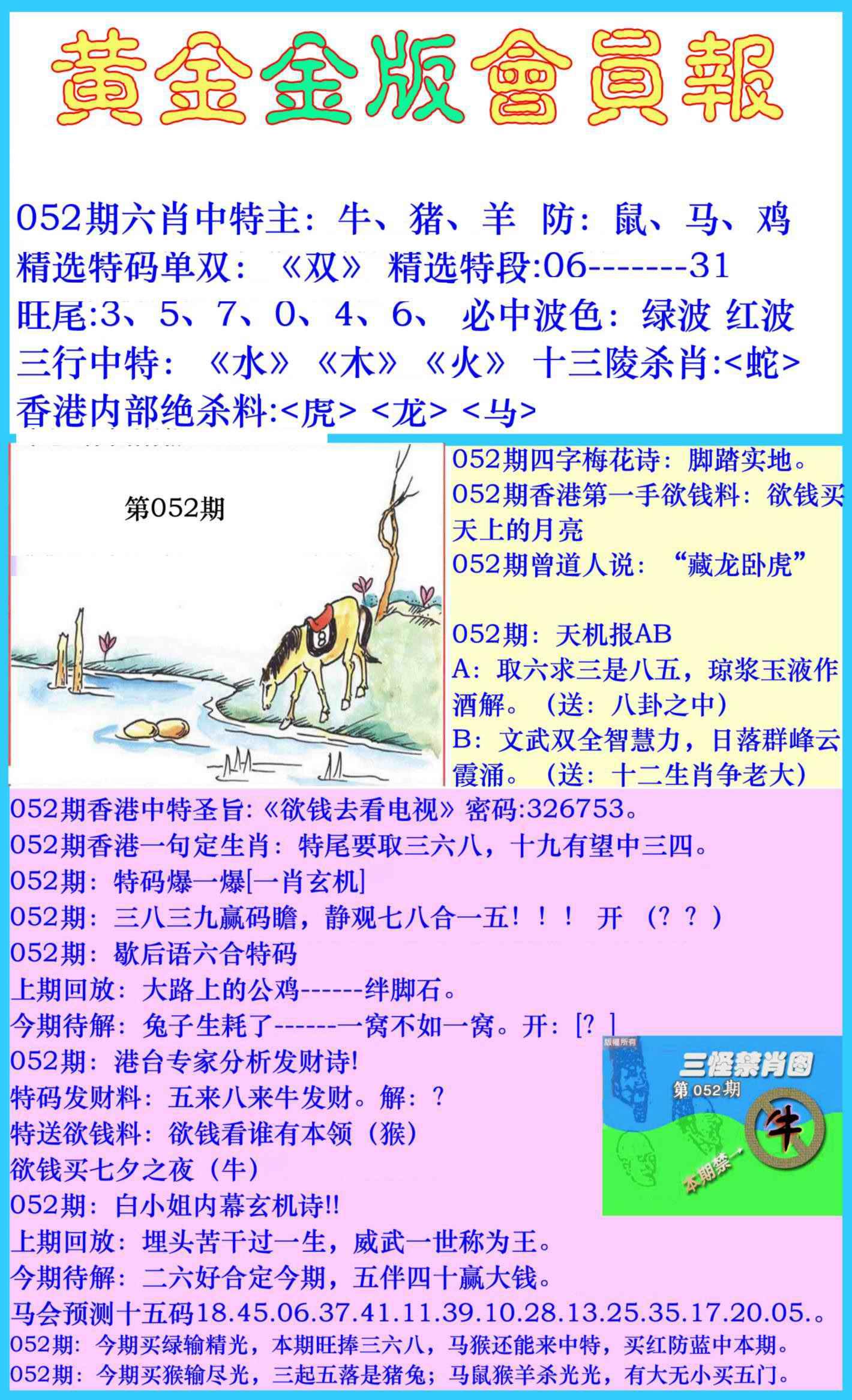 052期黄金金版会员报
