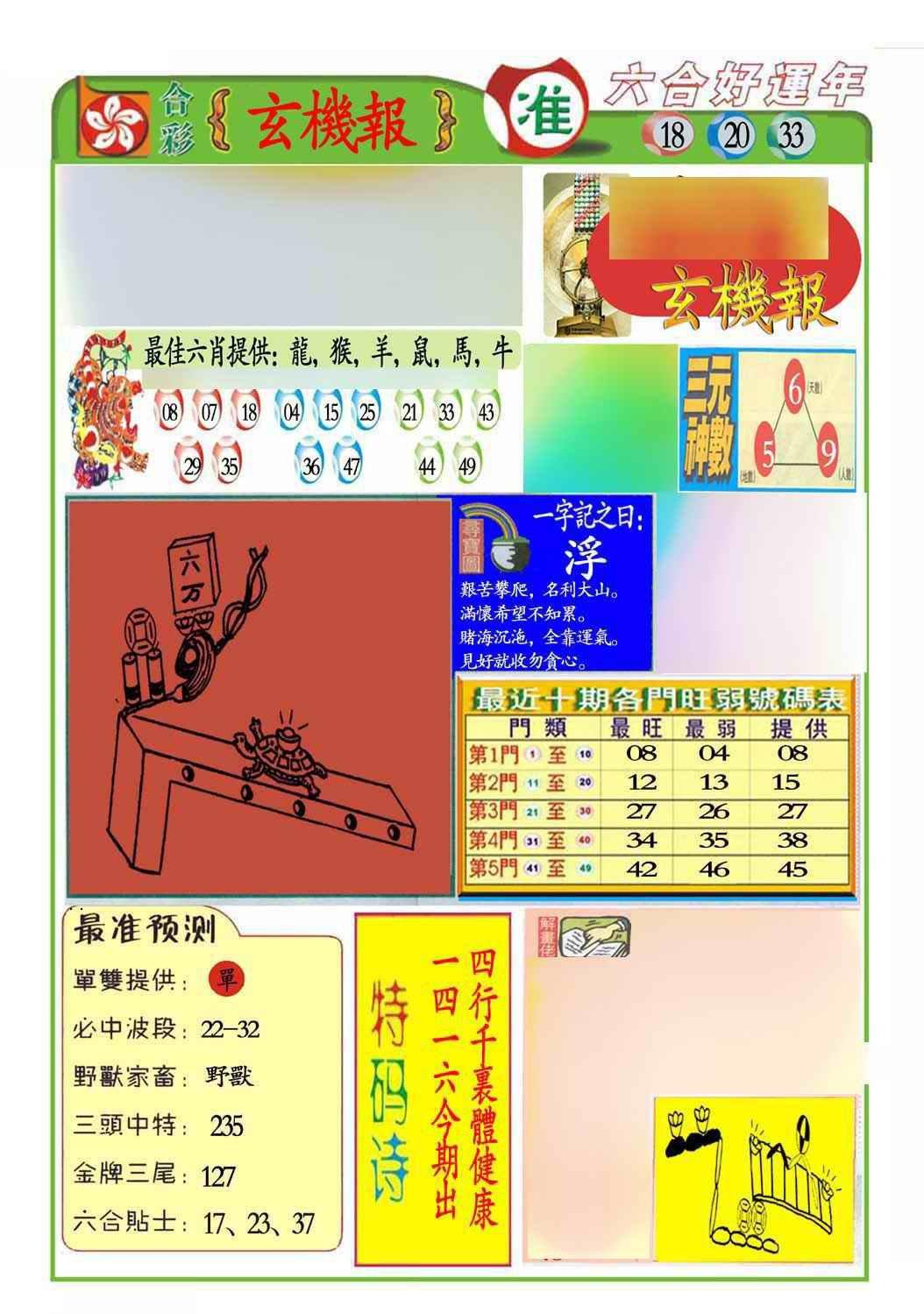 052期马经玄机报(新图推荐)