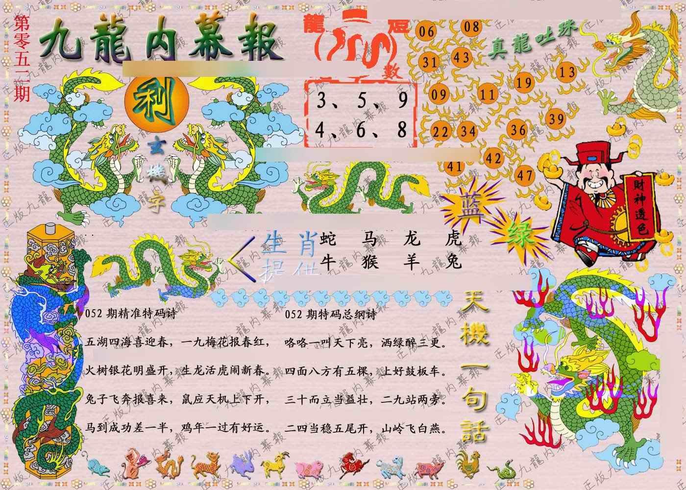 052期正版九龙内幕报