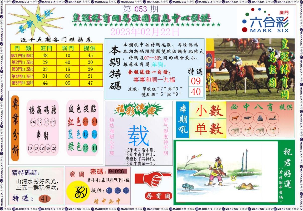 053期皇冠体育网马经图记录