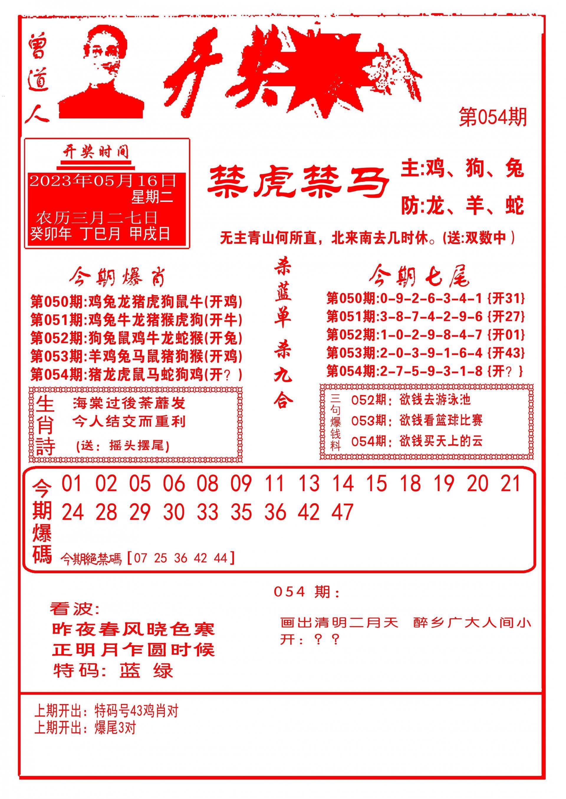 054期开奖爆料(新图推荐)