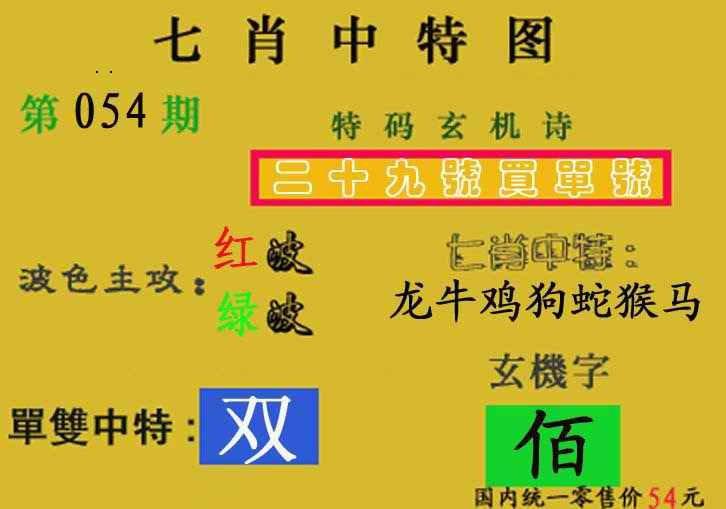 054期七肖中特(新图)