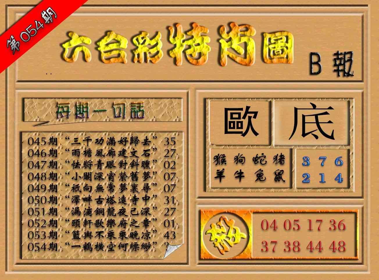 054期六合彩特肖图(B报)