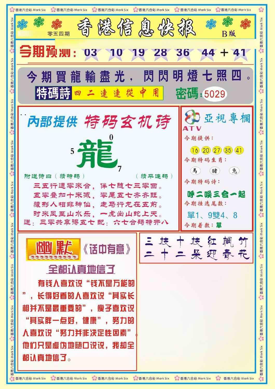 054期香港信息快报B(新)