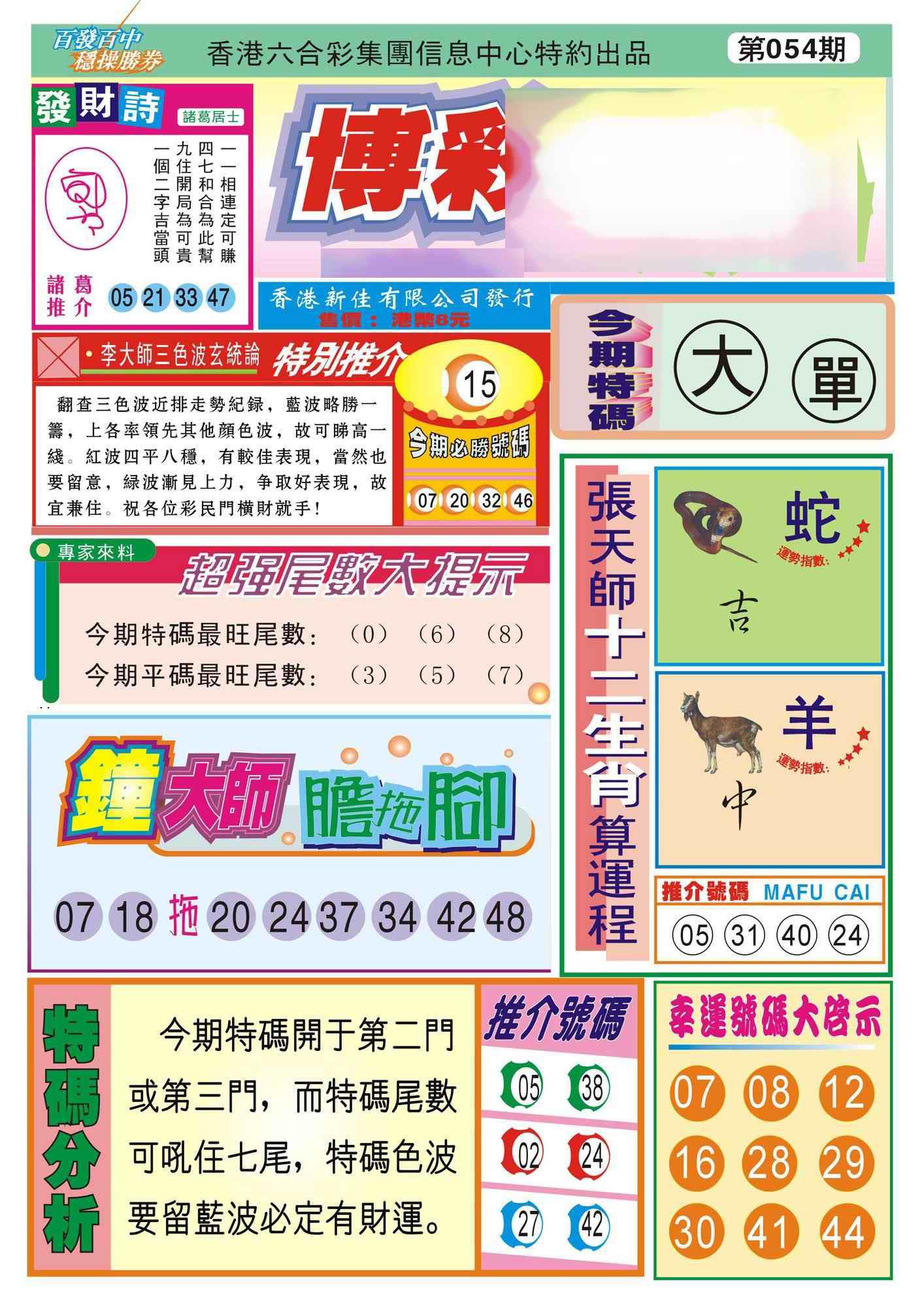 054期香港博彩快迅(新图)