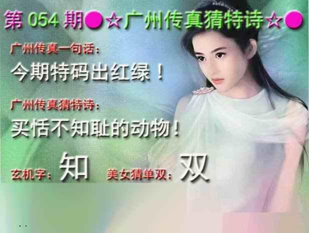 054期广州传真中特诗