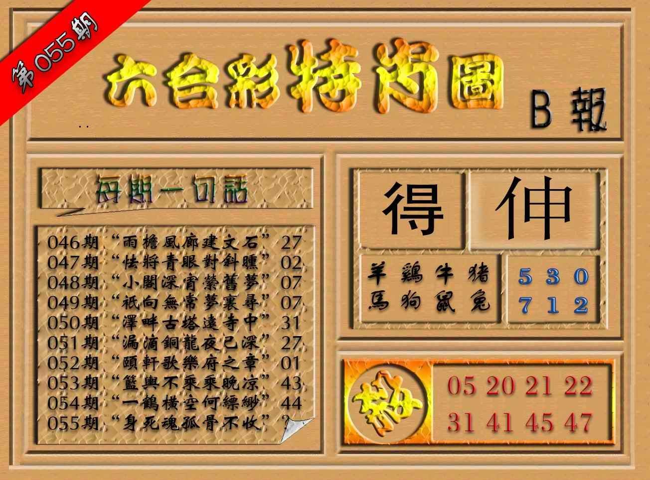 055期六合彩特肖图(B报)