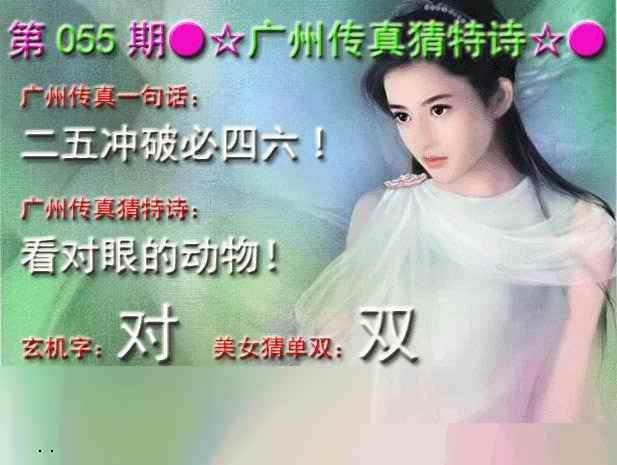 055期广州传真中特诗