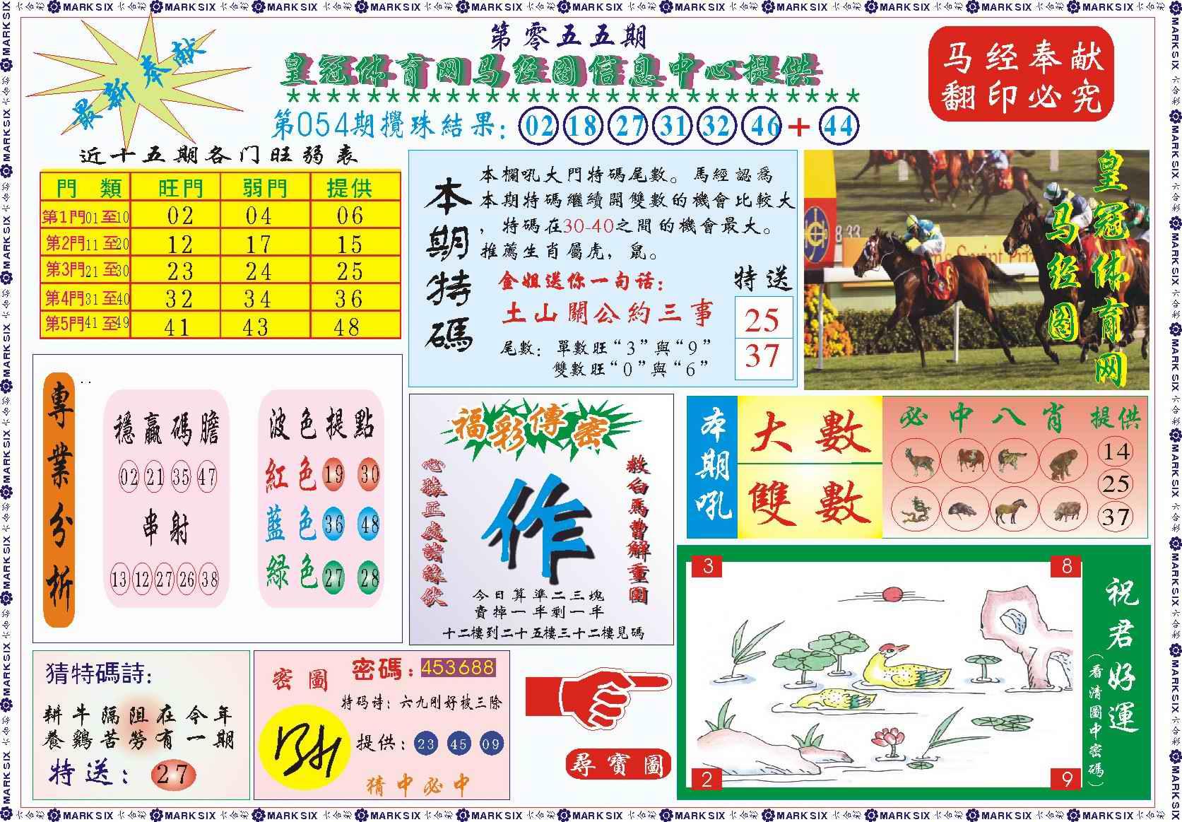 055期皇冠体育网马经图记录