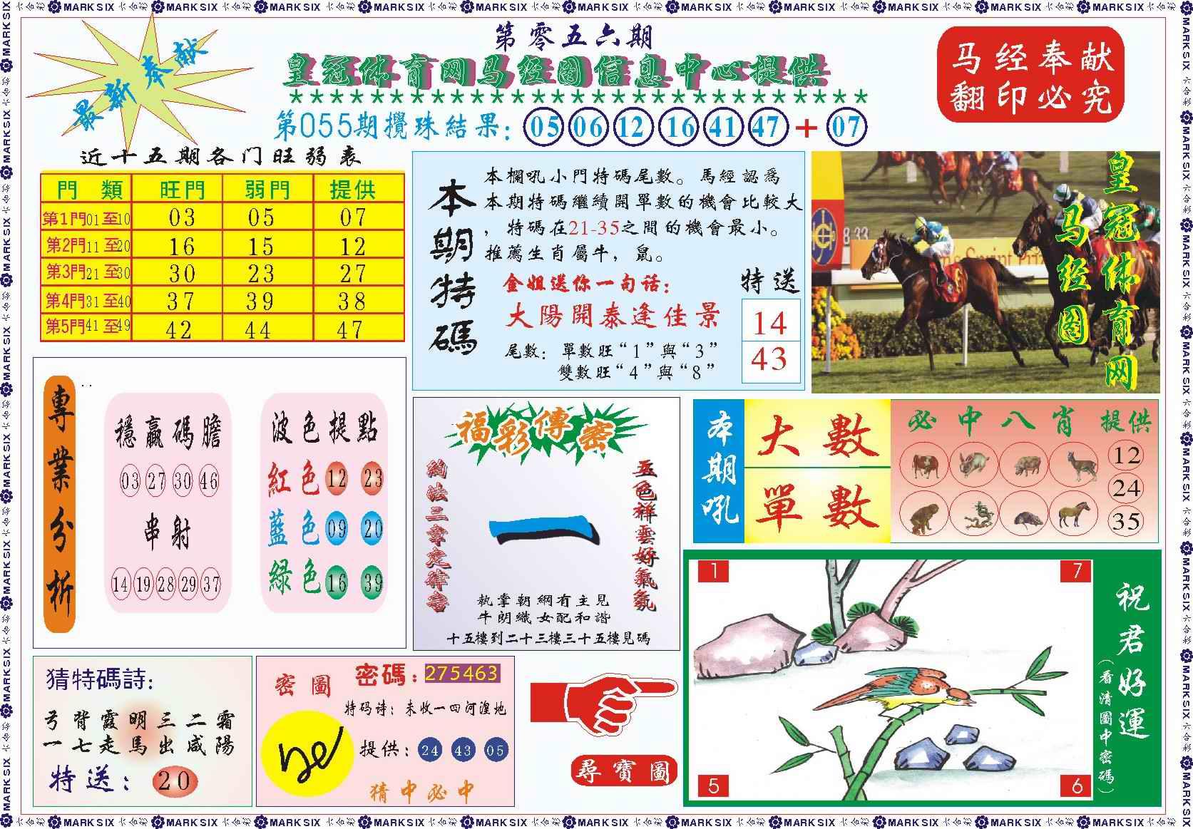 056期皇冠体育网马经图记录