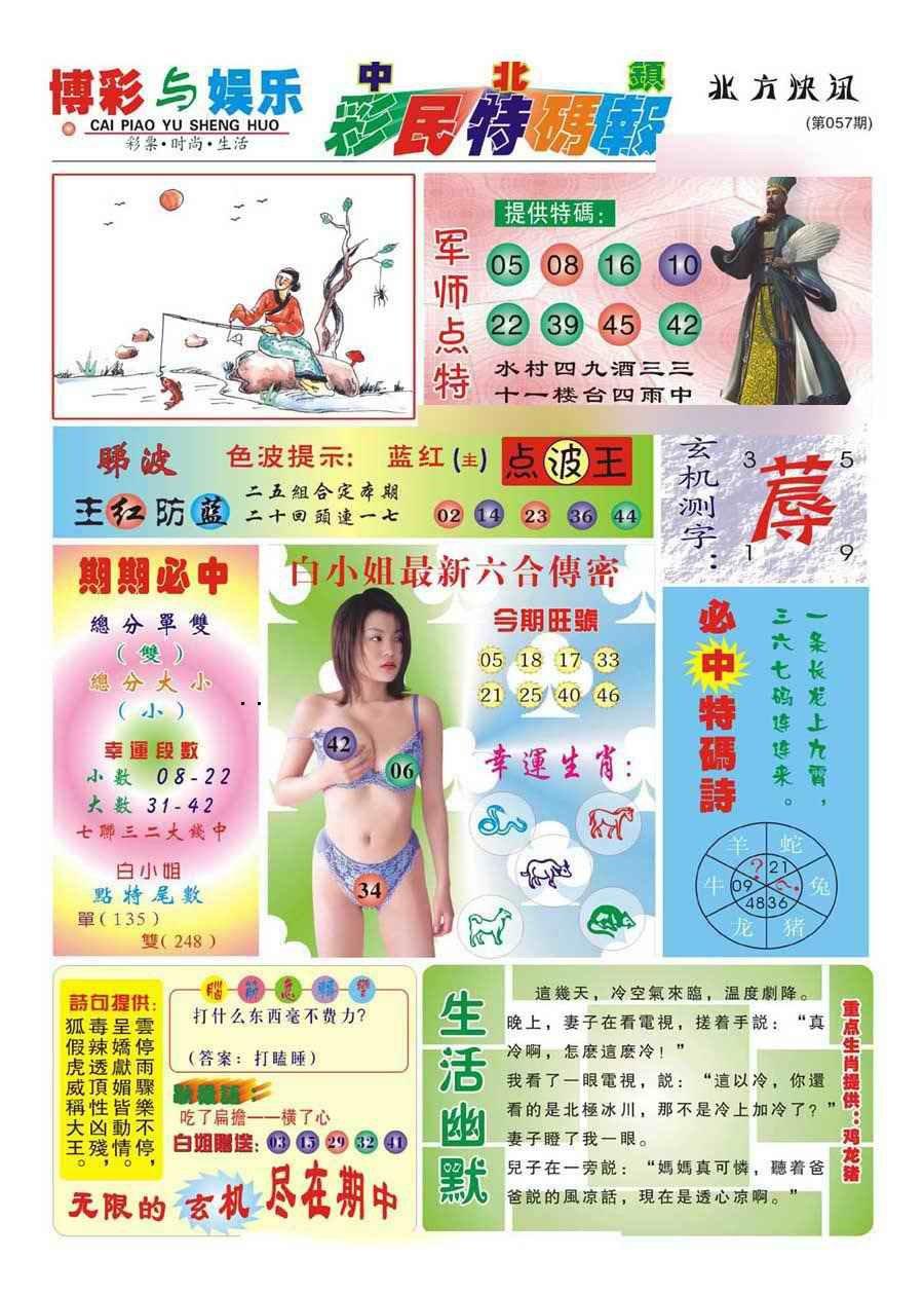 057期中北彩民特码报(新)
