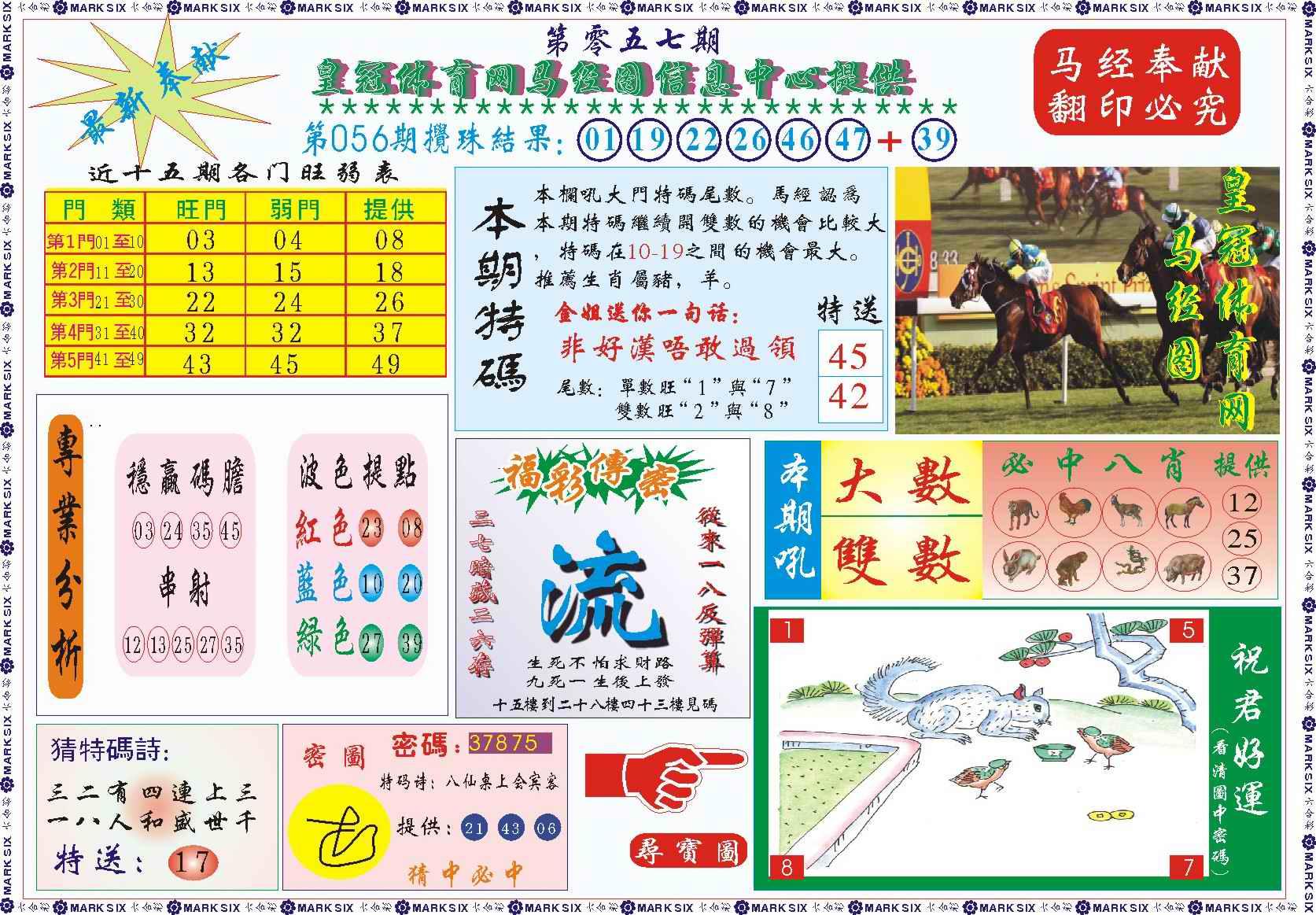 057期皇冠体育网马经图记录