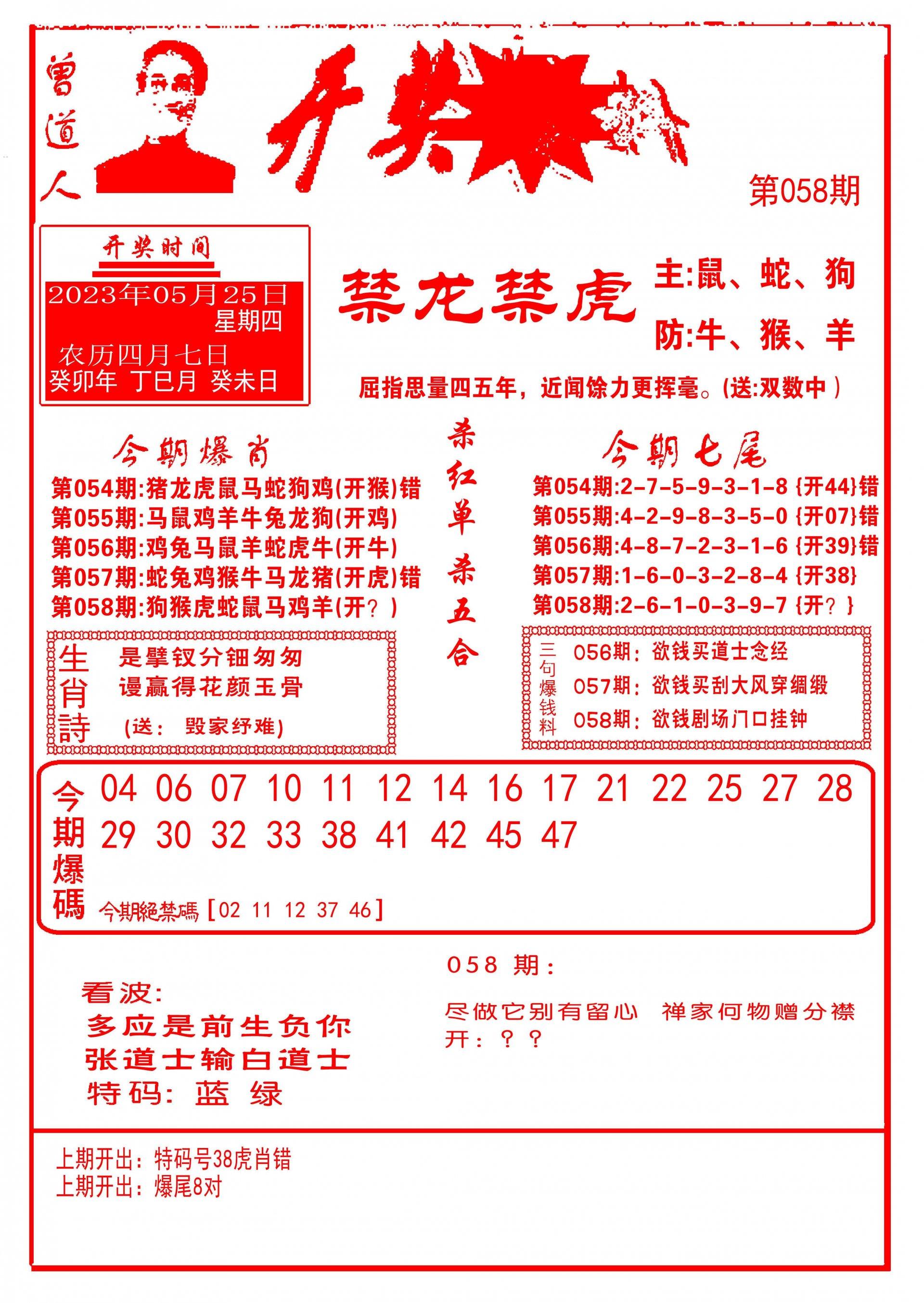 058期开奖爆料(新图推荐)