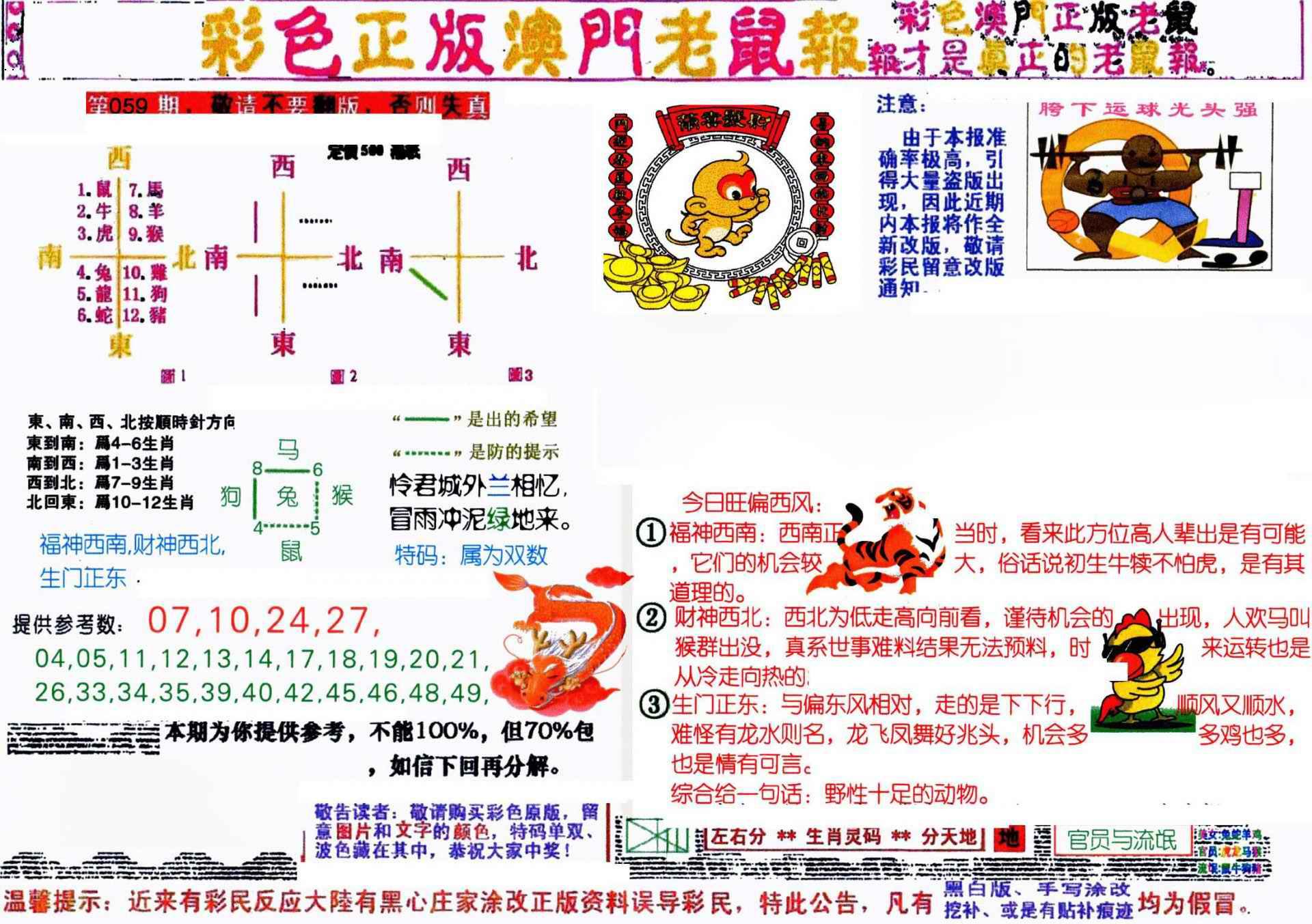 059期彩色正版澳门老鼠报