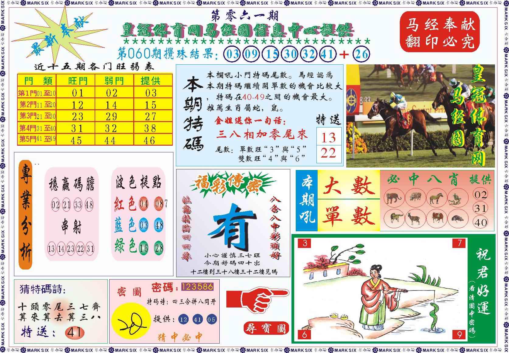 061期皇冠体育网马经图记录