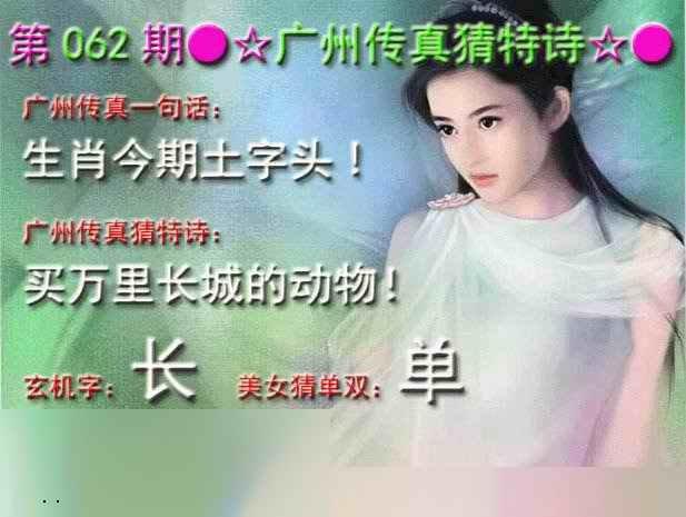 062期广州传真中特诗