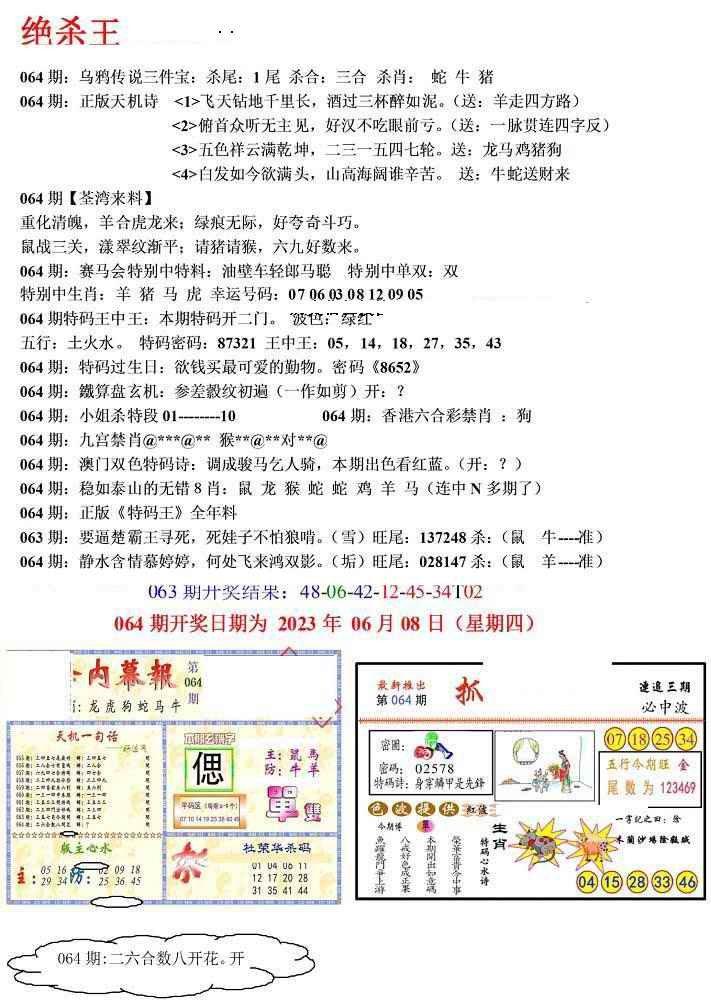 064期蓝天报(绝杀王)